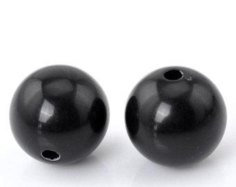 50 Resin Black Spacer Ball Beads 14mm (20892)