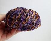 """Plymouth """"Odyssey Glitz"""" Yarn - Purple & Orange Sparkle - Ladder Yarn"""