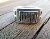 Vintage Silver Ring, Dad Ring, Swivel Type.  Unusual.  Size 10