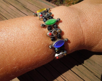 Vintage Flexible Bracelet, Multiple Colors, Silver Toned Base, Beads, Rhinestones and more
