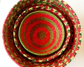 Set of 3 Christmas Fabric Coiled Bowls - JennisCraftyCorner