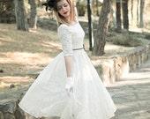 Ivory Cream 50s Wedding Dress Full Skirt Original 50s Style Bridal Dress Tea Length Dress - Handmade by SuzannaM Designs