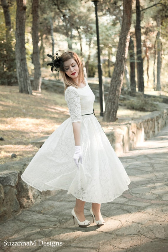 Fifties length wedding dress with tulle circle skirt and lace ...