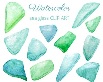 Blue and Green Seaglass - Watercolor CLIP ART - Digital images to download - for scrapbooking, card making, collage, digital creation