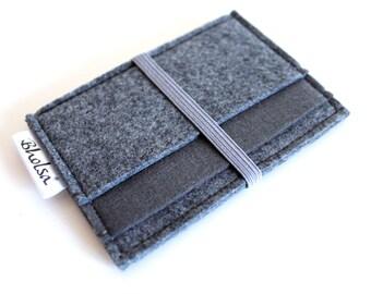 Card Organizer/ Card Wallet/ Felt Wallet/ Small Wallet/ Card Wallet Organizer- All Dark Grey- Grey Elastic Band