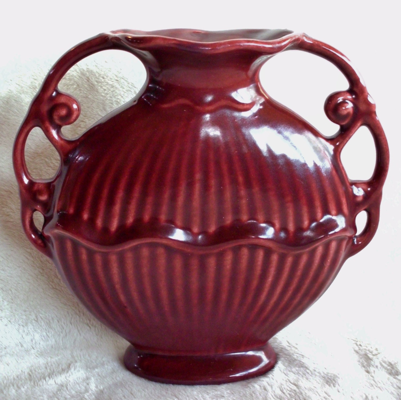 Unusual Vintage Disk-shaped Vase With Ornate Handles Possibly