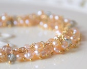 Reserved - Peach Freshwater Pearl Bracelet in Gold