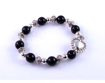 Black Cats Eye Stretch Bracelet with Silver Bali Heart Bead