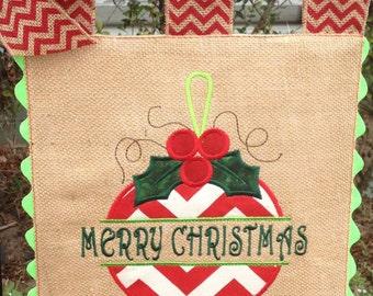 Burlap Garden Flag - Split Ornament- Merry Christmas - Embroidery Applique