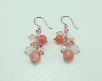 Cherry quartz,crystal earring hoop.