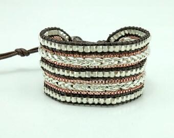 Pink gold,silver metal wrap bracelet