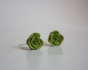 Olive green handmade ROSES post earrings. Choose your color