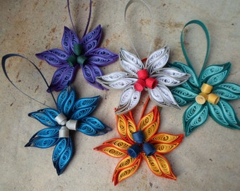 Quilled Christmas tree ornaments ,set of 5 Paper decorations for Christmas tree Modern Trendy
