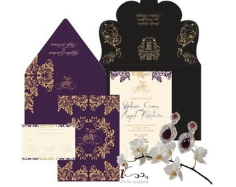 Die Cut Custom Luxury Invitations - Custom Lasercut invitations - Custom Luxury Invitations - Custom Diecut Invitations by InviteCouture