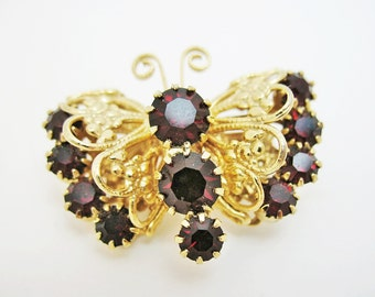 Garnet Butterfly Brooch Pin Small
