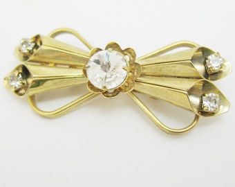 Old Gold filled Small Deco Rhinestone Brooch Pin