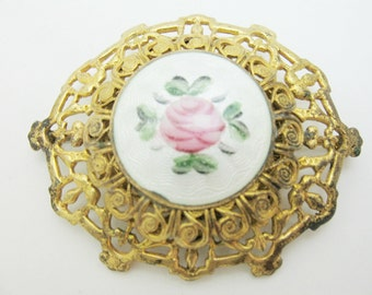 Rose Guillouche and Gold tone filagree brooch pin