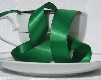 "Emerald Green Satin Ribbon (single faced) 7/8"" wide  - 3 yards"