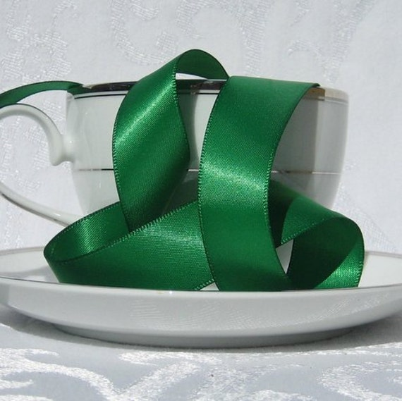 Emerald green satin ribbon single faced 7 8 wide 3 for Emerald satin paint