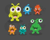 Vector Stock Image / Cute Monsters Digital Download / Clip Art / Scaleable / Graphics Set of 6 / Monster Set For Boys and Girls / LUTZstudio