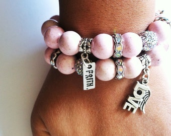 "Breast cancer awareness jewelry , Pink beaded charm bracelet- ""Rock Pink"""