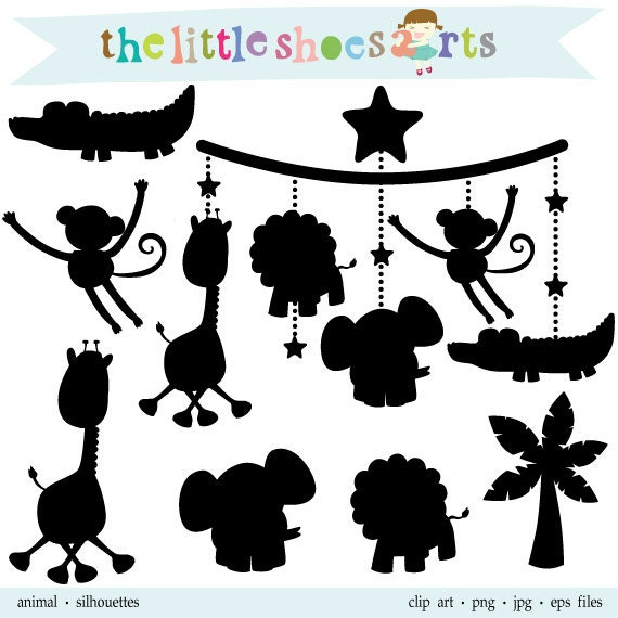 Animal Silhouettes Digital Clipart Lion Giraffe Monkey