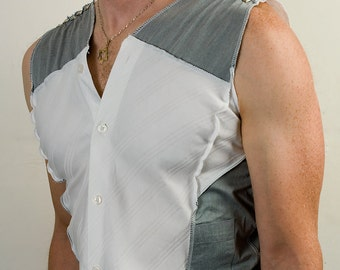 Post apocalyptic sleeveless dress shirt in gray and white