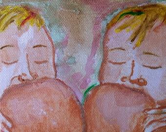 Nursing Twins. Breastfeeding twins. Twin Nurslings. Breastfeeding Art. Tandem nursling. Milk mama. keepsake. Baby. Newborn. Lactation gift
