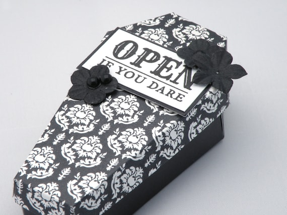 Black Treat Favor Boxes : Coffin treat box in black and white