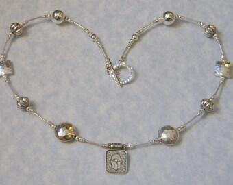 Hamsa Evil Eye and Hammered Sterling Silver Necklace Pendant