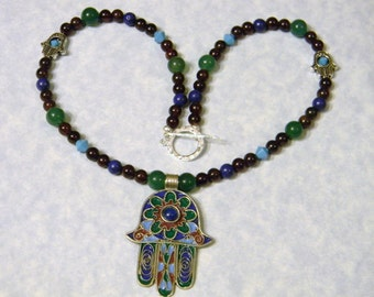Tuareg Berber Enamel Hamsa and Gemstone Necklace