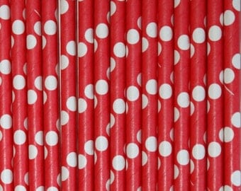 Bright Red with White Swiss Dot  Paper Straws