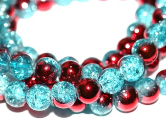 80pc Loose Beads/ Clear Blue/Basketball wives earrings inspired Bracelet beads-Necklace Beads-Glass Beads-8mm