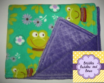 Frogs and Flowers Double Minky Stroller Blanket