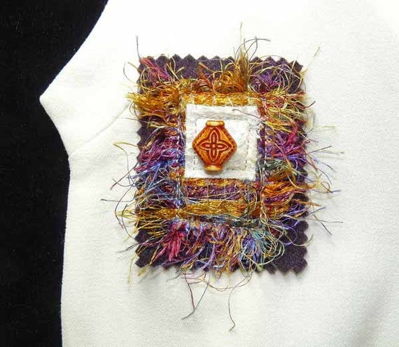 Gold Maroon Fiber Art Brooch Pin Beaded
