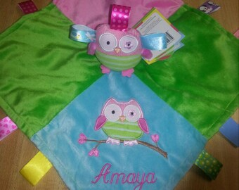 """Owl baby Blanket,  taggie blanket, ribbon blanket, personalized gift, embroidered keepsake, baby shower gift, 13.5"""" x 13.5"""""""