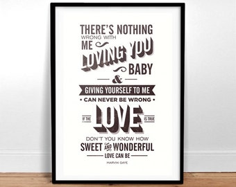 Let's Get It On - Marvin Gaye Lyrics - typography Poster