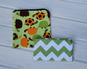 Set of Turtle Reusable Sandwich & Snack Bags with Zipper Closure