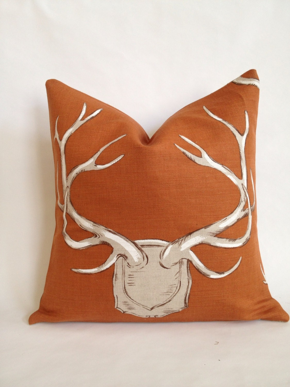 Lee Jofa Antler Fabric And Burlap Pillow Cover