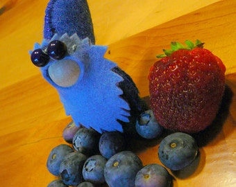 Blueberry Gnome, Small Handmade Waldorf Gnome, Peg Doll, One of a Kind, Art Doll