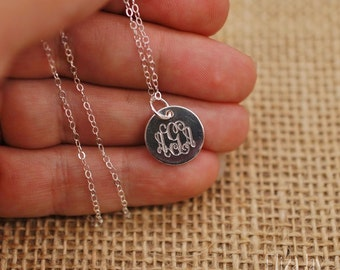 """sterling silver, very small 1/2"""" engraved monogram necklace .925 sterling silver"""