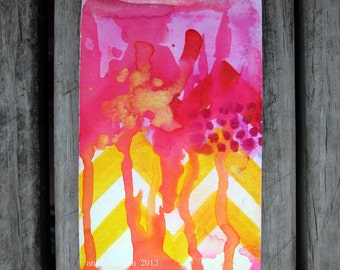 "Archival Print of Original Watercolor ""Citron Chevron with Hot Pink"""