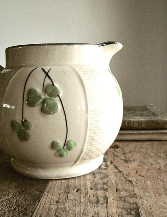 Vintage Japan Shamrock Ceramic Pitcher