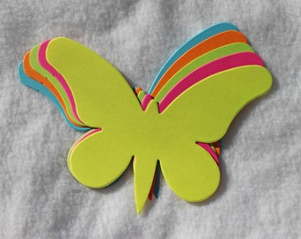 Large Bright/Neon Die Cut Butterflies (green, blue, orange, pink, yellow)