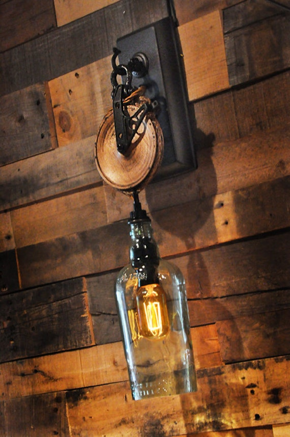 Not On The High Street Industrial Wall Light : Liquor Bottle Wall Sconce with Pulley by MoonshineLamp on Etsy