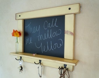 Kitchen Chalk board-Craftsman style country chic with shelf and hooks 12 Colors to choose from -MADE TO ORDER