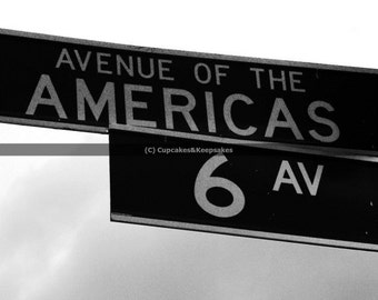 """New York """"Avenue of the Americas"""" Street Sign Fine Art Photograph Black and White"""
