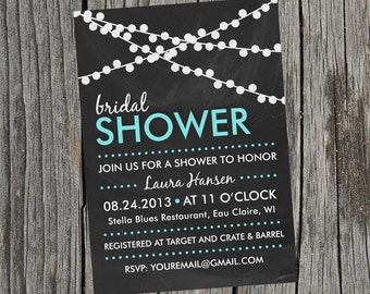 DIY Printable - Bridal Shower Invitation - Chalkboard Twinkle Lights