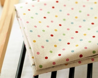 Linen Blend Polkadot Candy Dot - Yellow - By the Yard 38859