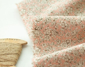 Cotton Linen Blend Romantic Flowers - Pink - By the Yard 38851